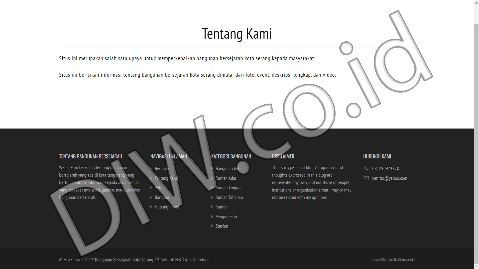 Portfolio 2 - Bangunan Bersejarah - Andri Sunardi - Freelancer - Web Developer - CEO DIW.co.id