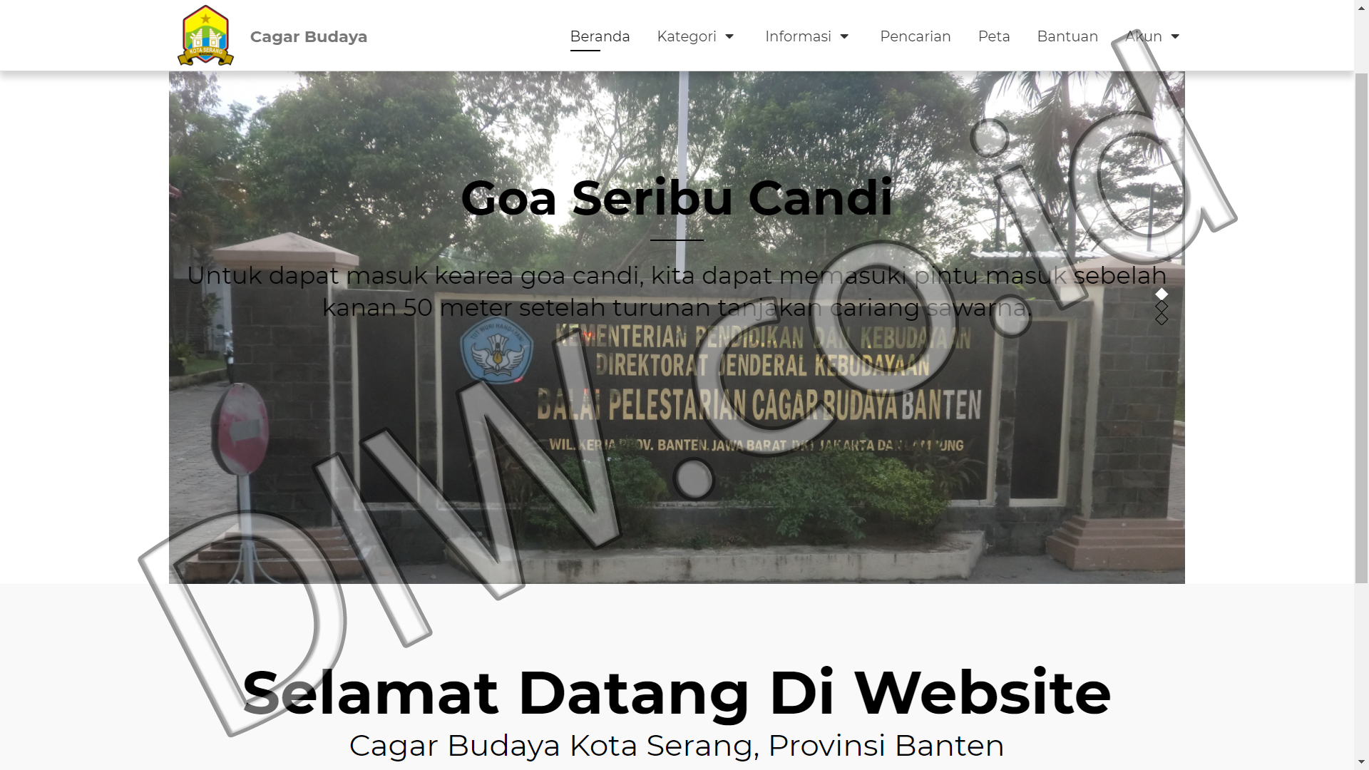 Portfolio 1 - Cagar Budaya - Andri Sunardi - Freelancer - Web Developer - CEO DIW.co.id
