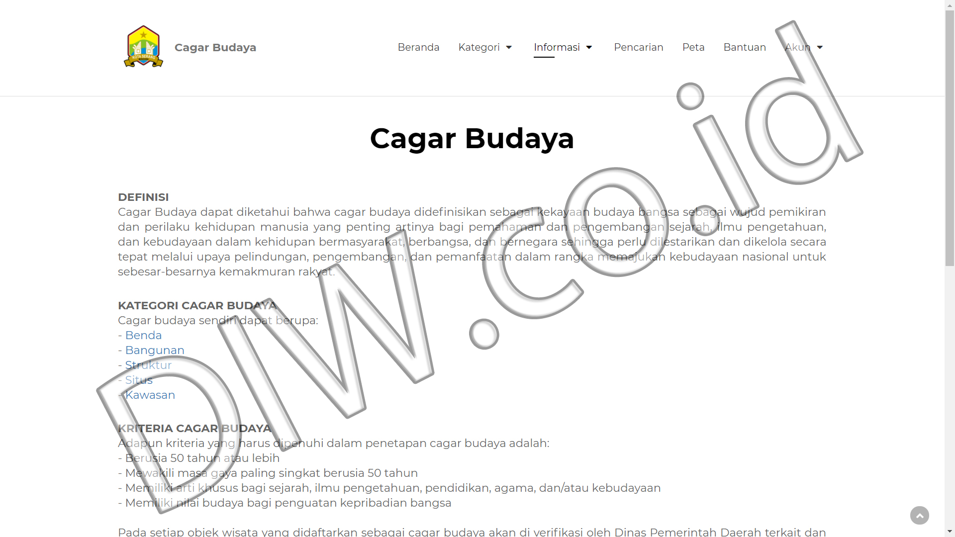 Portfolio 2 - Cagar Budaya - Andri Sunardi - Freelancer - Web Developer - CEO DIW.co.id