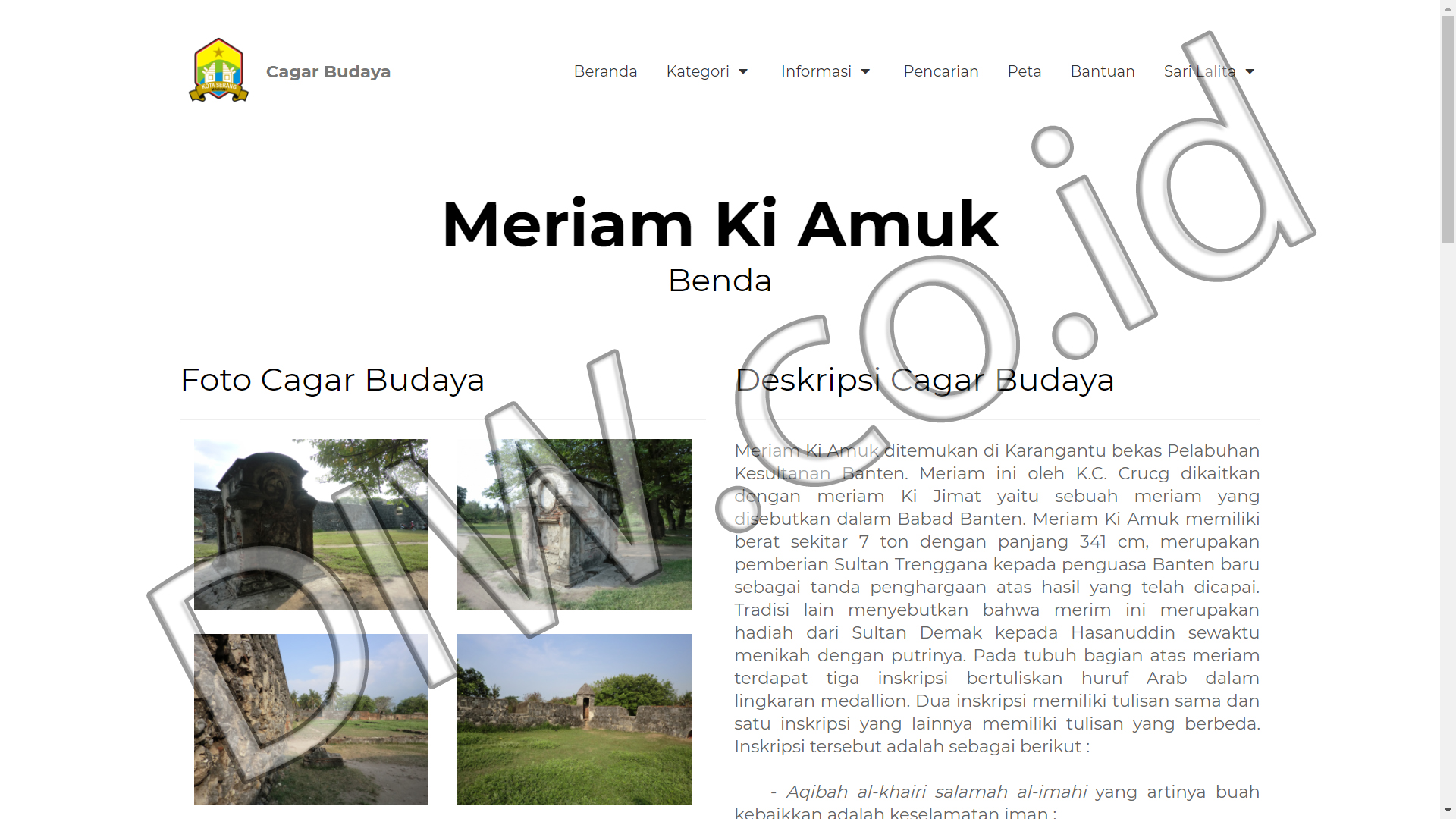Portfolio 4 - Cagar Budaya - Andri Sunardi - Freelancer - Web Developer - CEO DIW.co.id