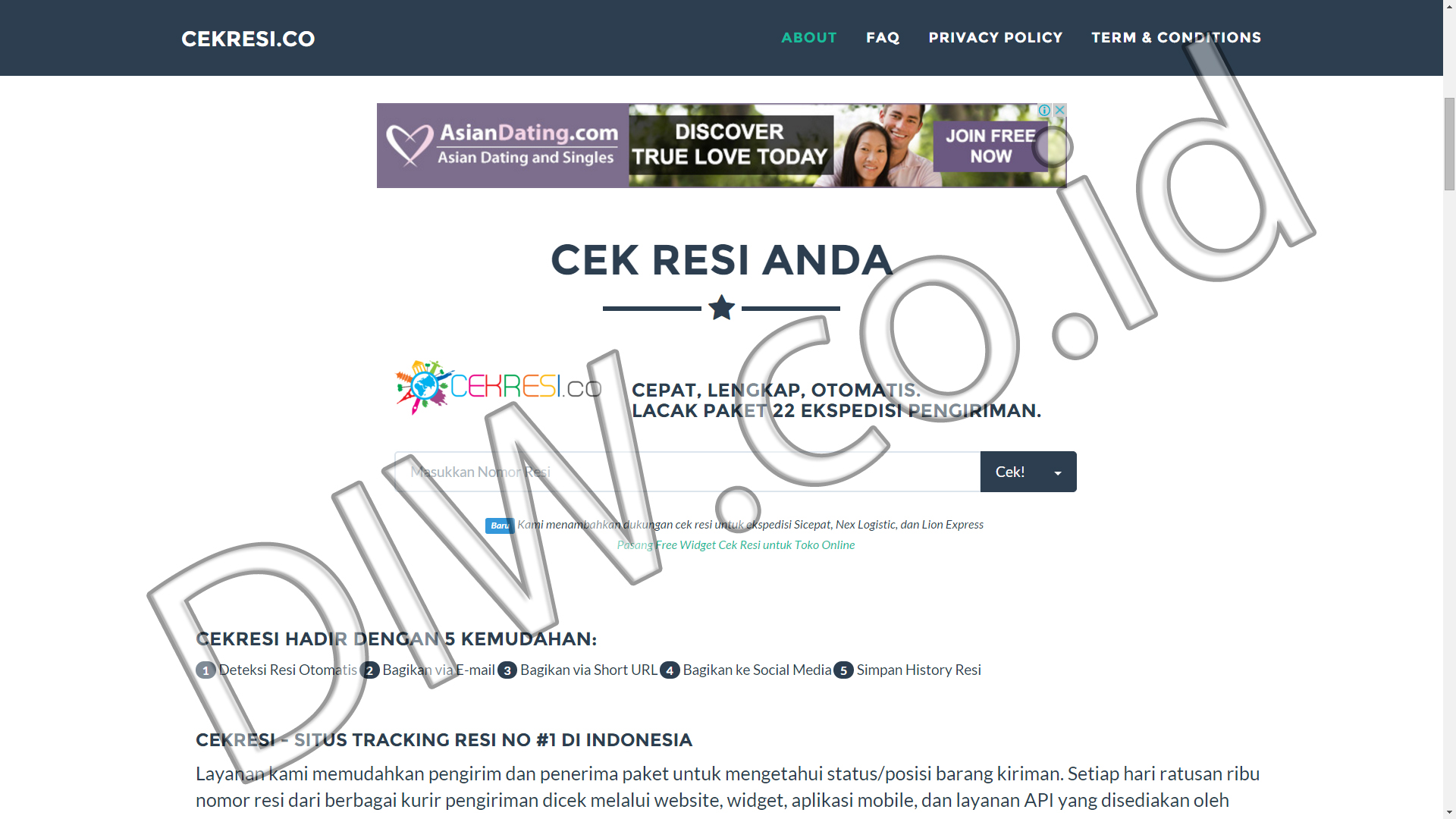 Portfolio 2 - Cekresi - Andri Sunardi - Freelancer - Web Developer - CEO DIW.co.id