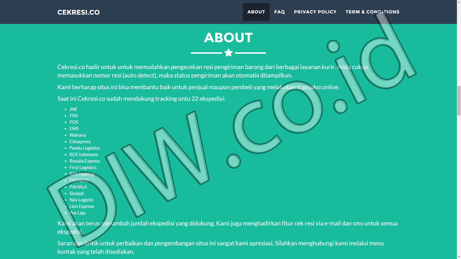 Portfolio 3 - Cekresi - Andri Sunardi - Freelancer - Web Developer - CEO DIW.co.id