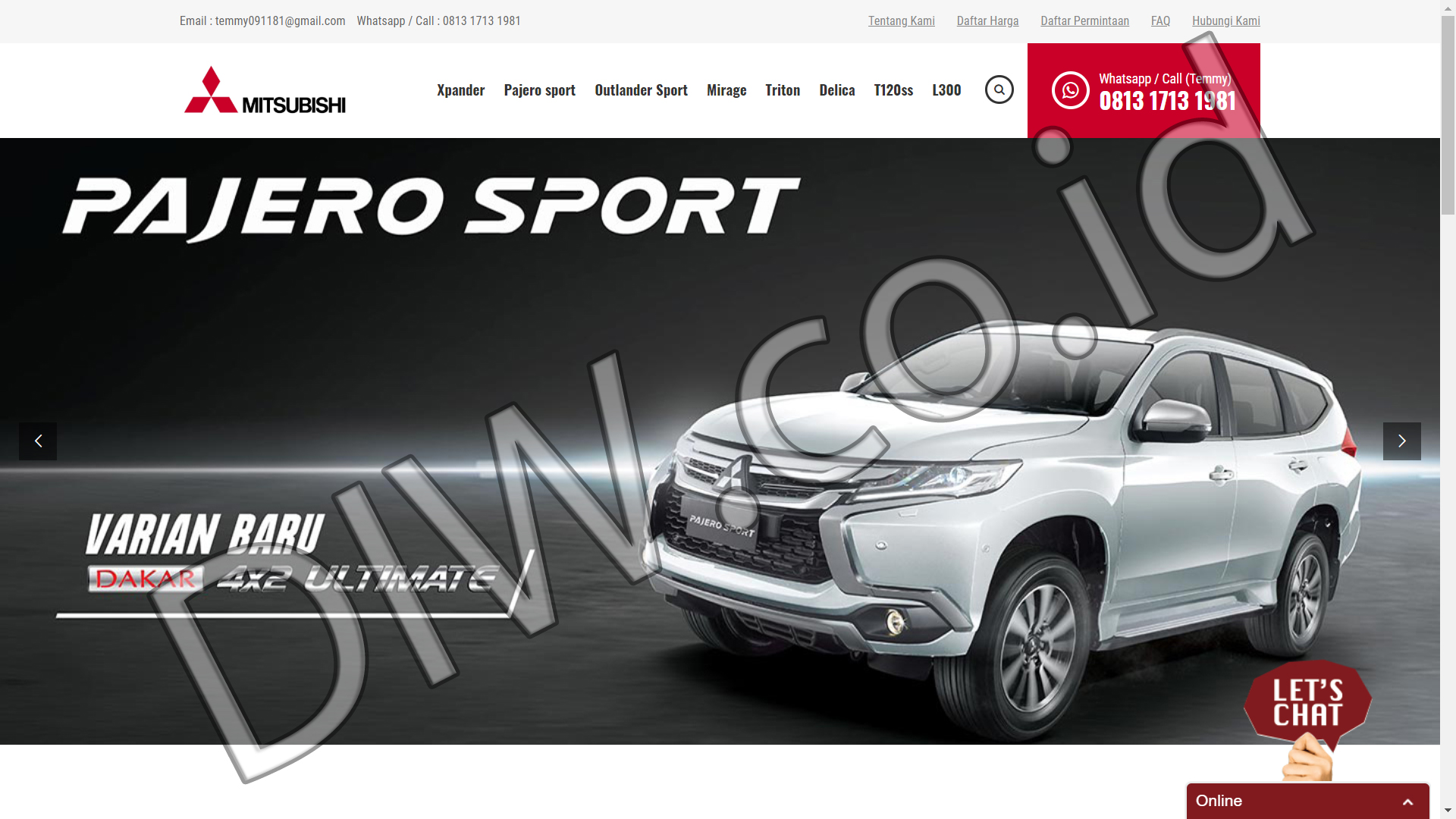 Portfolio 1 - Dealer Mitsubishi Jakarta Barat - Andri Sunardi - Freelancer - Web Developer - CEO DIW.co.id