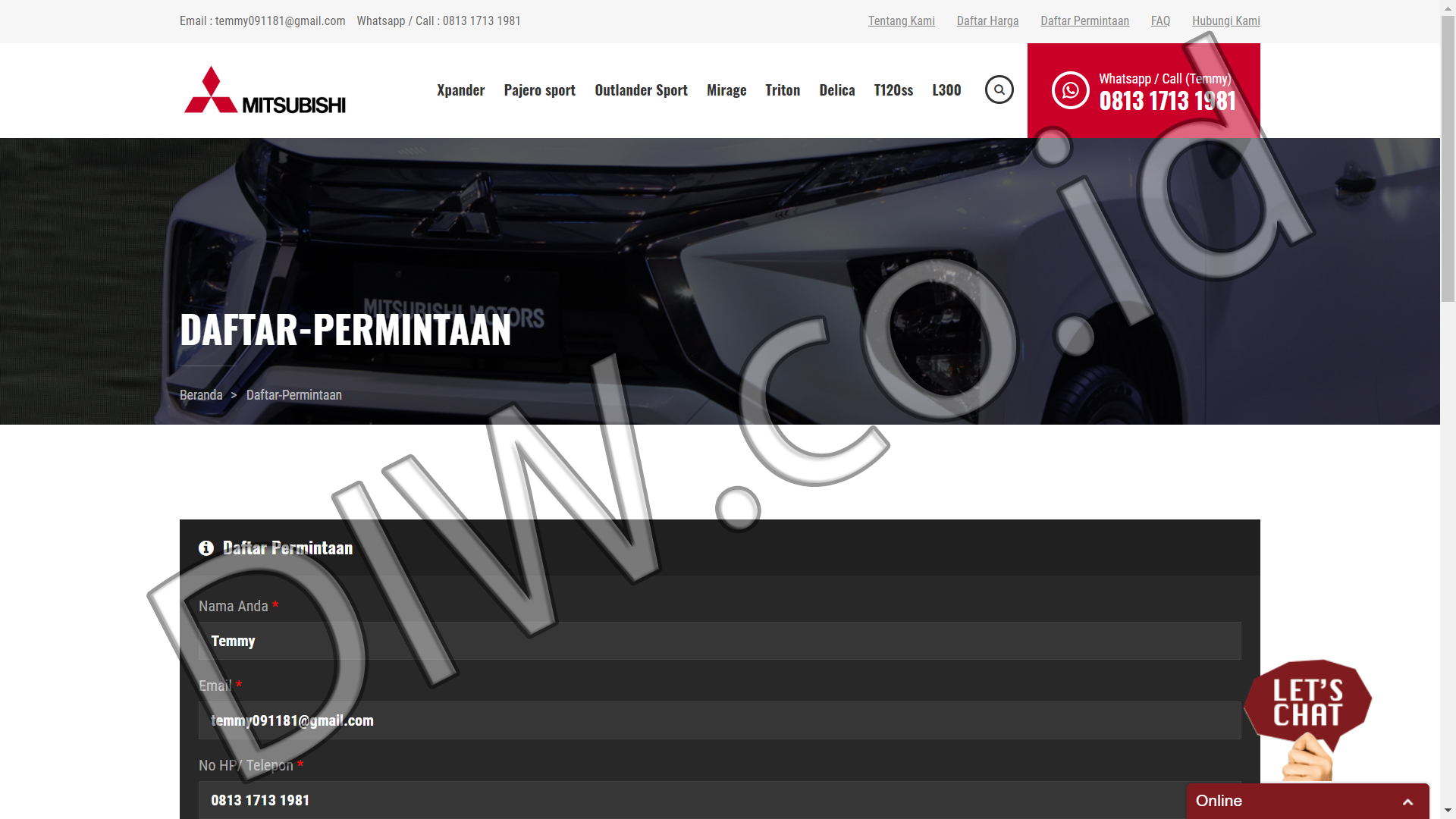 Portfolio 3 - Dealer Mitsubishi Jakarta Barat - Andri Sunardi - Freelancer - Web Developer - CEO DIW.co.id