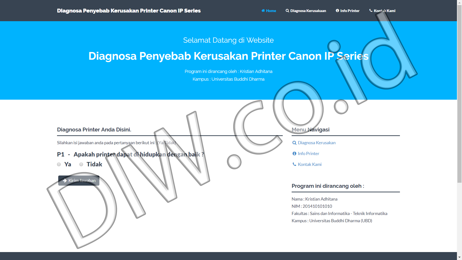Portfolio 1 - Diagnosa Printer Canon IP Series - Andri Sunardi - Freelancer - Web Developer - CEO DIW.co.id