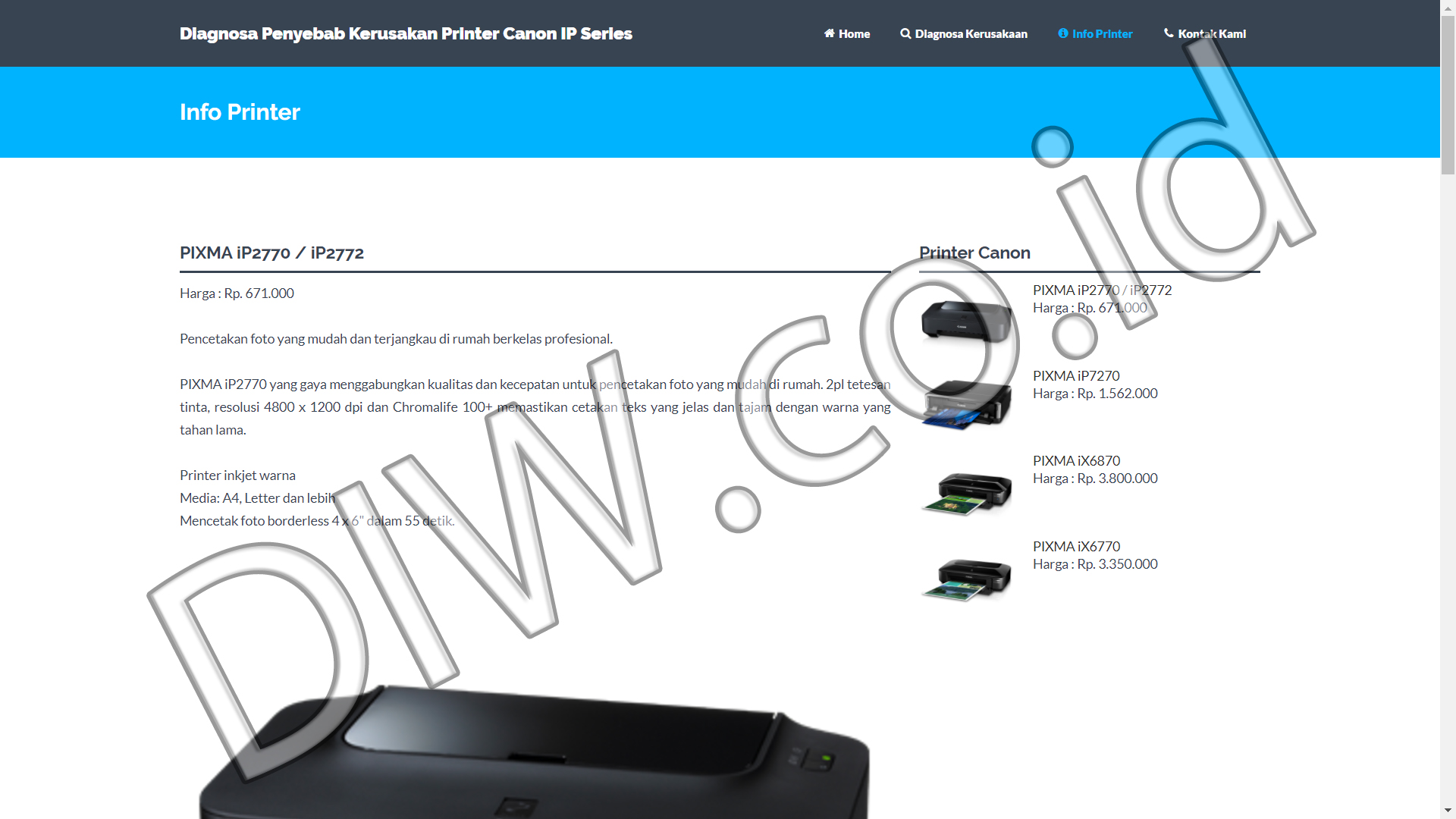 Portfolio 3 - Diagnosa Printer Canon IP Series - Andri Sunardi - Freelancer - Web Developer - CEO DIW.co.id