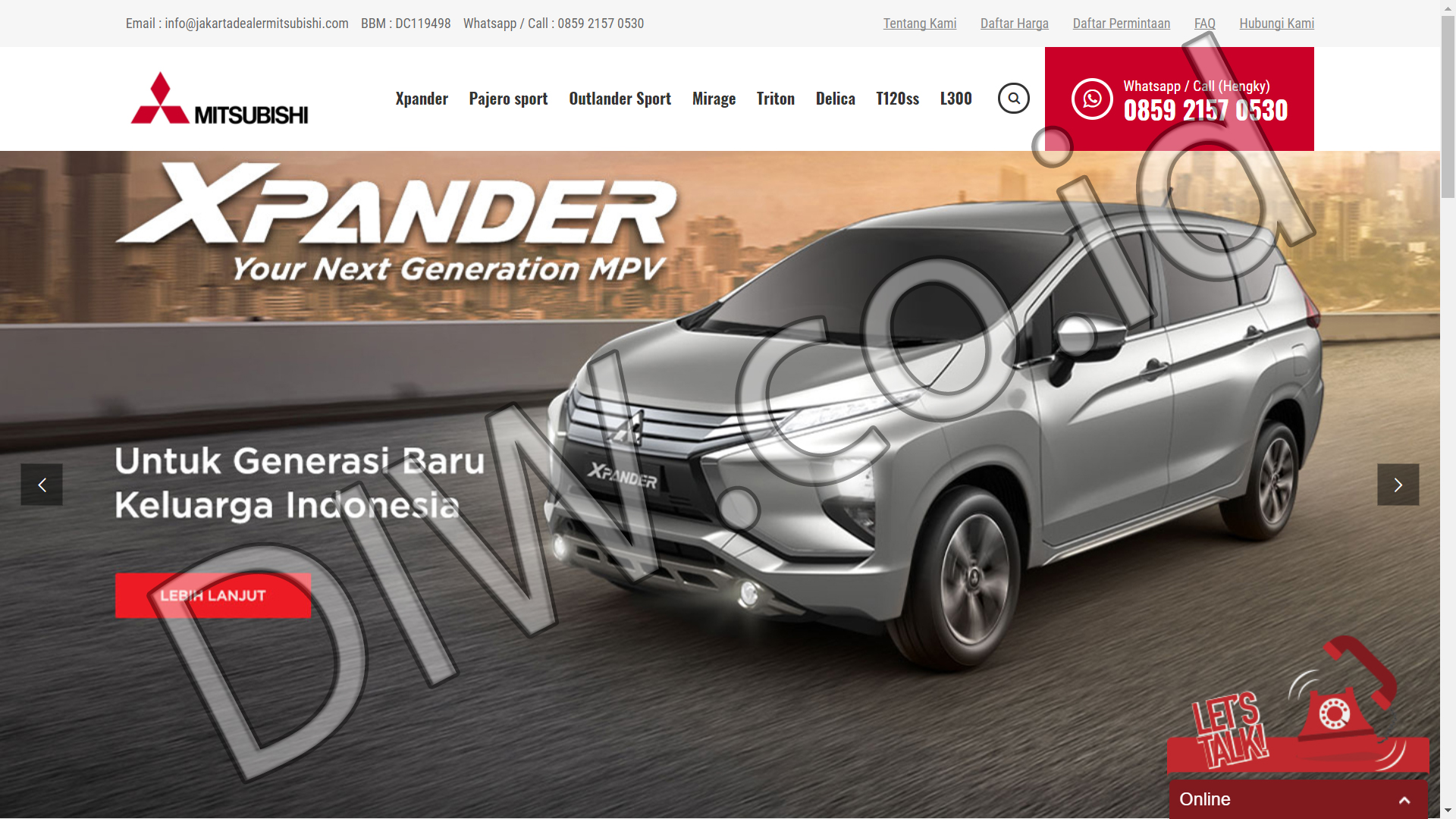Portfolio 1 - Jakarta Dealer Mitsubishi - Andri Sunardi - Freelancer - Web Developer - CEO DIW.co.id