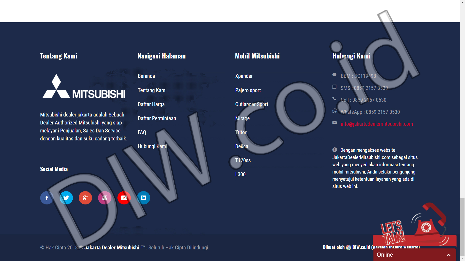 Portfolio 3 - Jakarta Dealer Mitsubishi - Andri Sunardi - Freelancer - Web Developer - CEO DIW.co.id