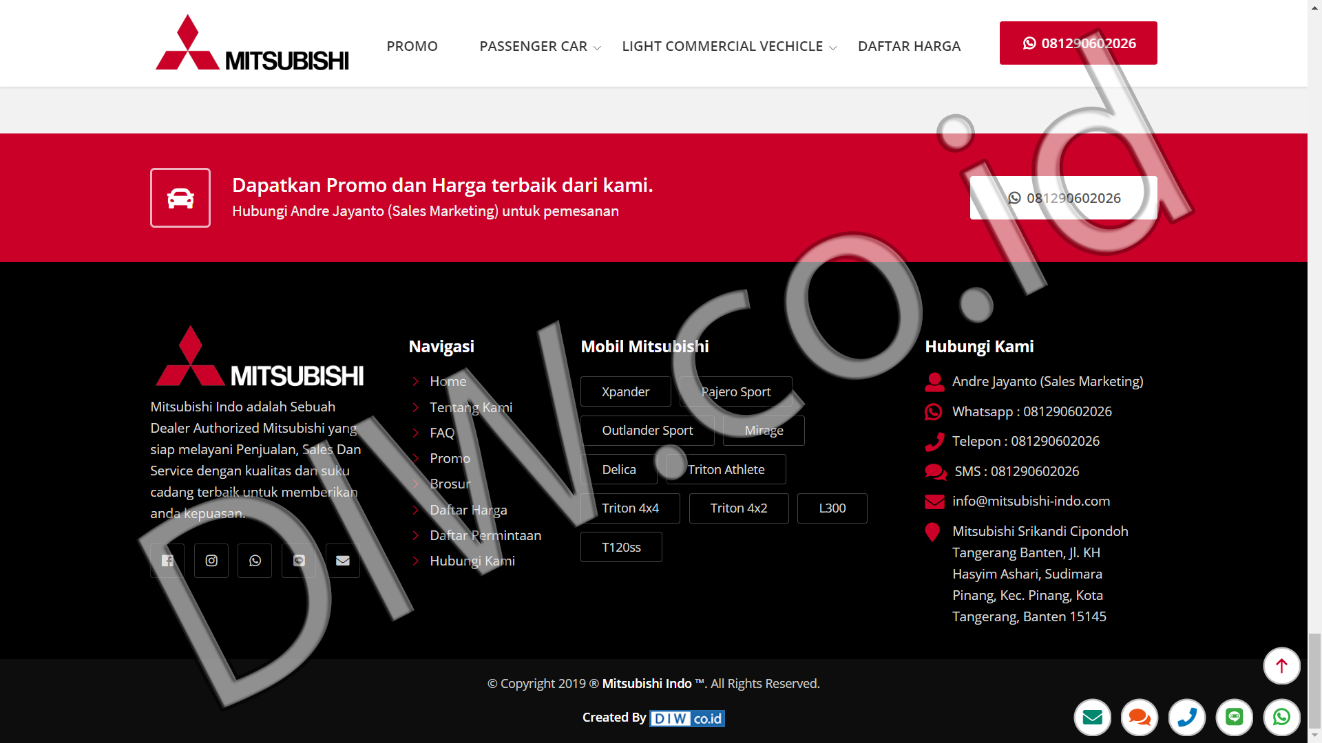 Portfolio 5 - Mitsubishi Indo - Andri Sunardi - Freelancer - Web Developer - CEO DIW.co.id