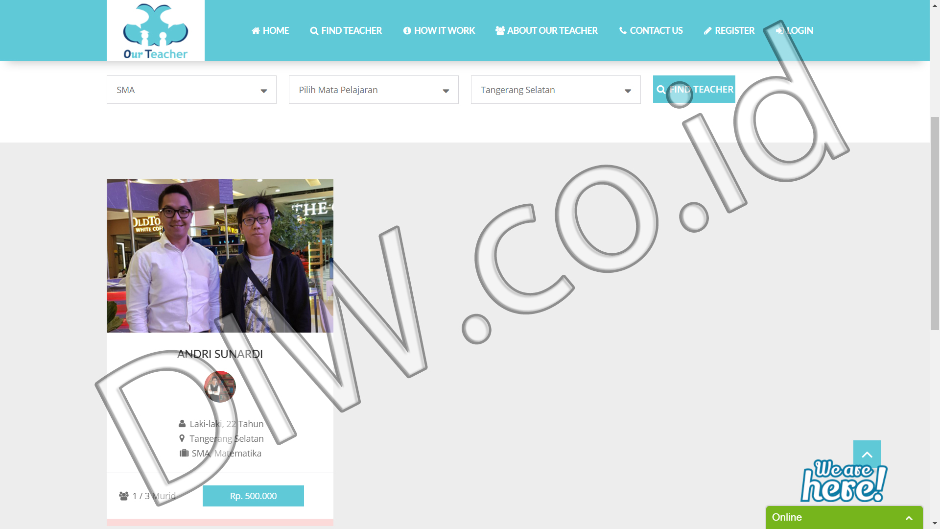 Portfolio 3 - Our Teacher - Andri Sunardi - Freelancer - Web Developer - CEO DIW.co.id