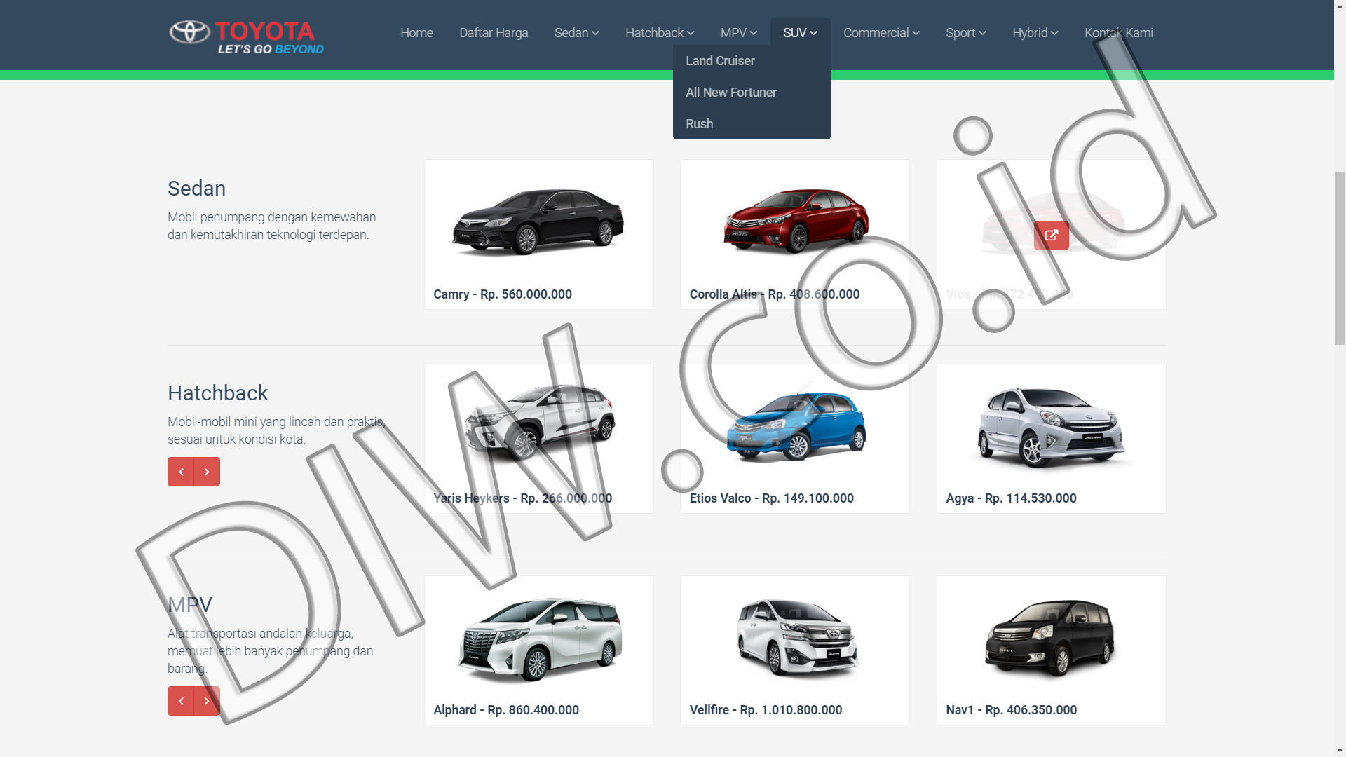 Portfolio 2 - Promo Baru Toyota - Andri Sunardi - Freelancer - Web Developer - CEO DIW.co.id