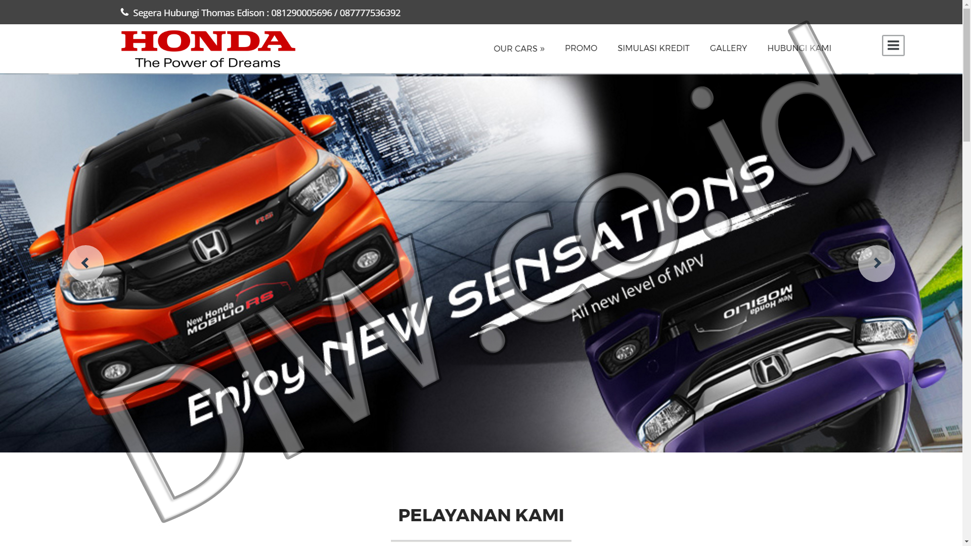 Portfolio 1 - Promo Honda Mobil - Andri Sunardi - Freelancer - Web Developer - CEO DIW.co.id