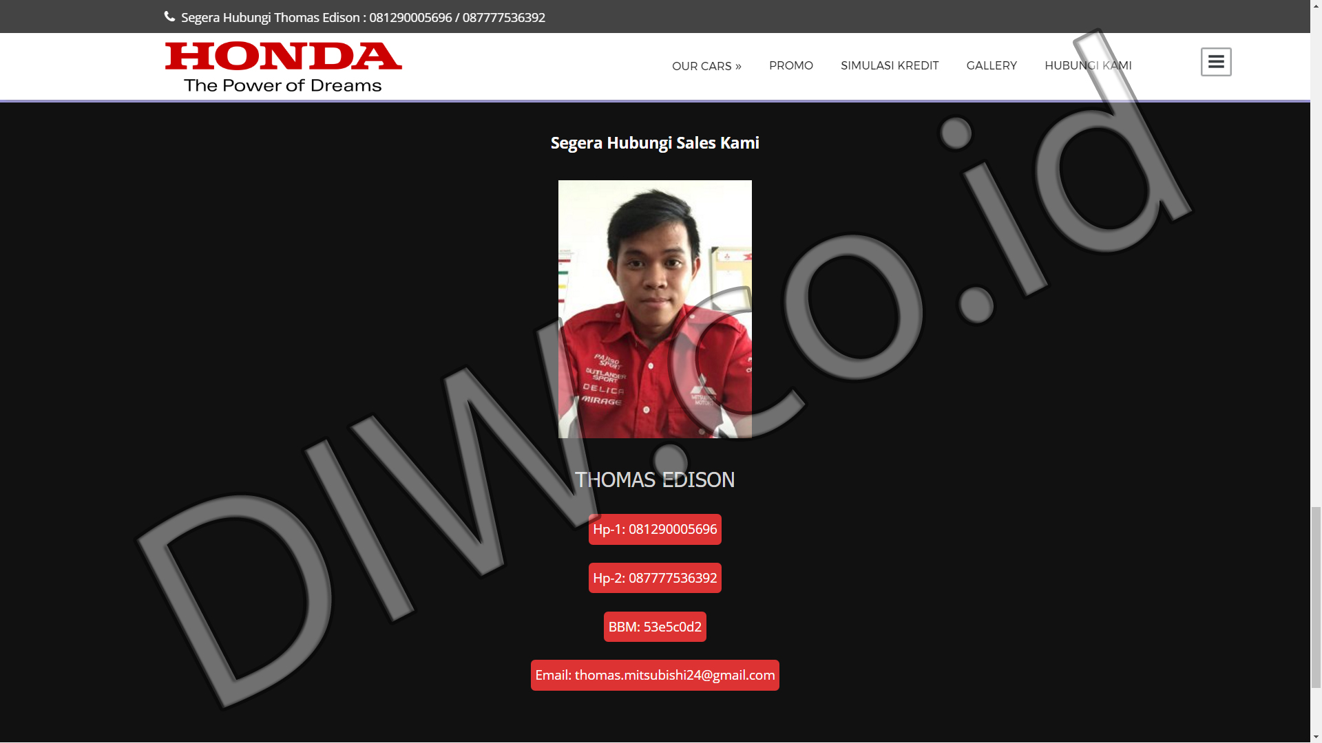 Portfolio 2 - Promo Honda Mobil - Andri Sunardi - Freelancer - Web Developer - CEO DIW.co.id