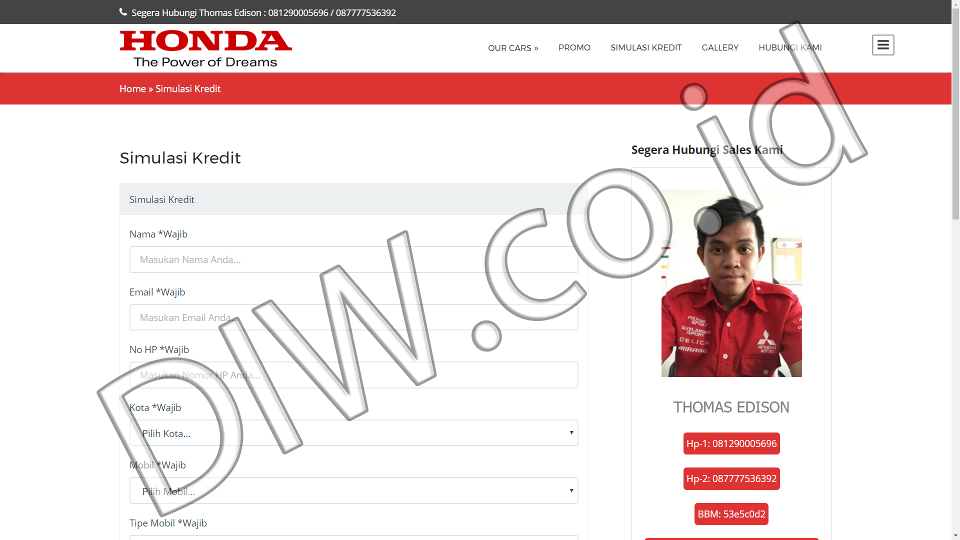Portfolio 3 - Promo Honda Mobil - Andri Sunardi - Freelancer - Web Developer - CEO DIW.co.id
