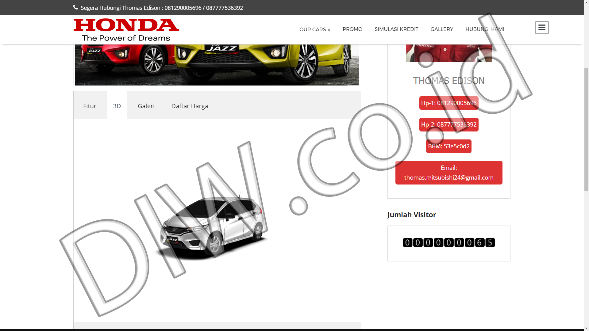 Portfolio 5 - Promo Honda Mobil - Andri Sunardi - Freelancer - Web Developer - CEO DIW.co.id