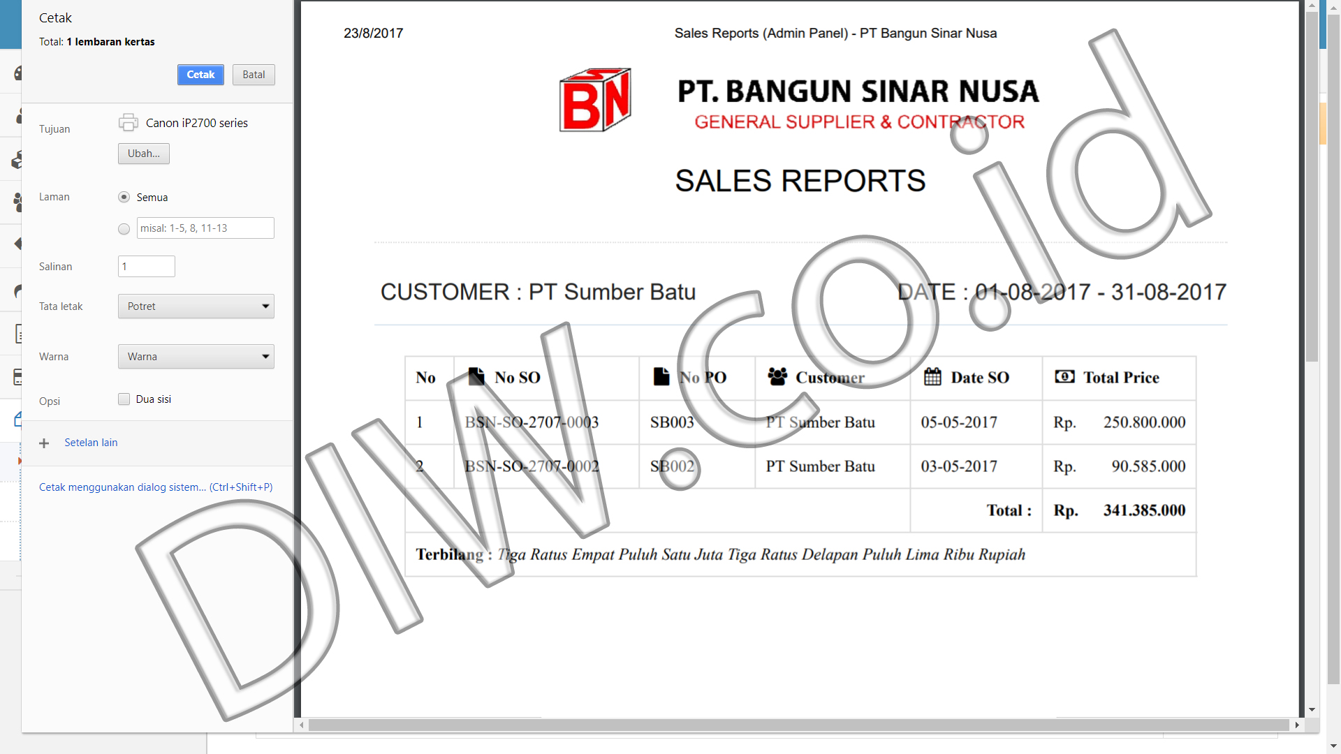 Portfolio 5 - PT Bangun Sinar Nusa - Andri Sunardi - Freelancer - Web Developer - CEO DIW.co.id