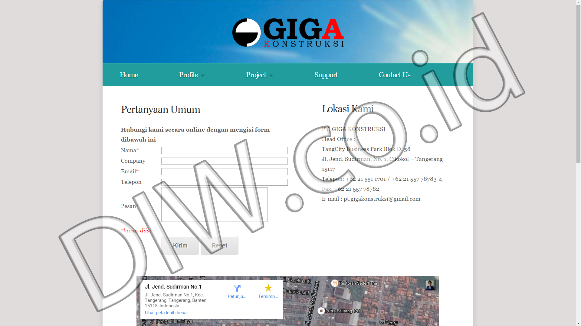 Portfolio 5 - PT Giga Kontruksi - Andri Sunardi - Freelancer - Web Developer - CEO DIW.co.id