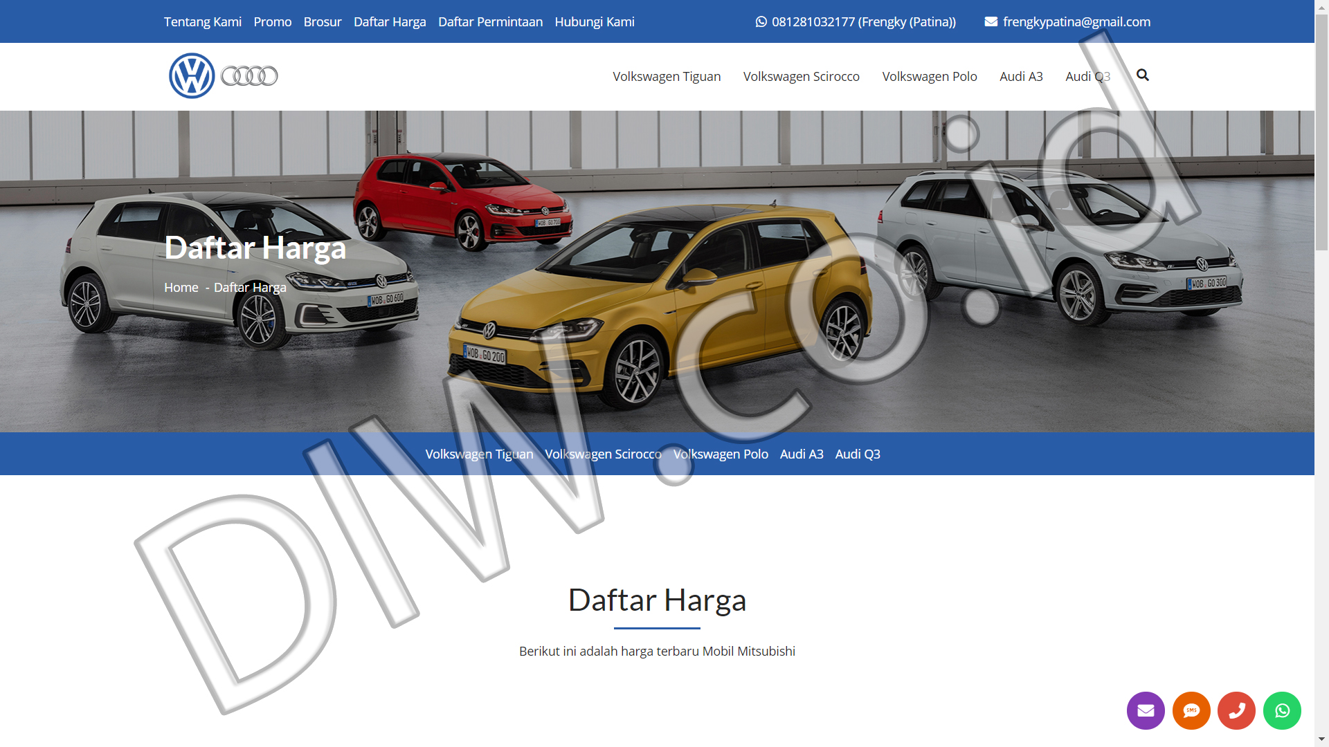 Portfolio 5 - VW Audi BSD Jakarta - Andri Sunardi - Freelancer - Web Developer - CEO DIW.co.id